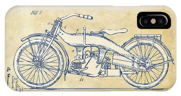 Vintage Harley-davidson Motorcycle 1924 Patent Artwork IPhone Case