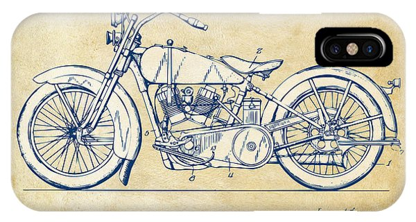 Harley iPhone Case - Vintage Harley-davidson Motorcycle 1928 Patent Artwork by Nikki Smith