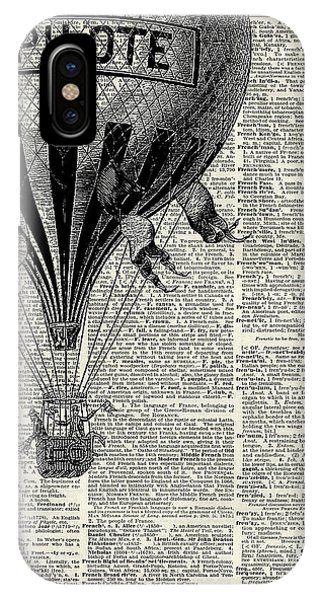 Celebration iPhone Case - Vintage Hot Air Balloon Illustration,antique Dictionary Book Page Design by Anna W