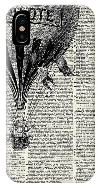 Sky iPhone Case - Vintage Hot Air Balloon Illustration,antique Dictionary Book Page Design by Anna W