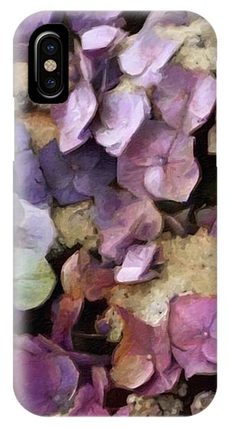 IPhone Case featuring the mixed media Vintage Hydrangea by Susan Maxwell Schmidt