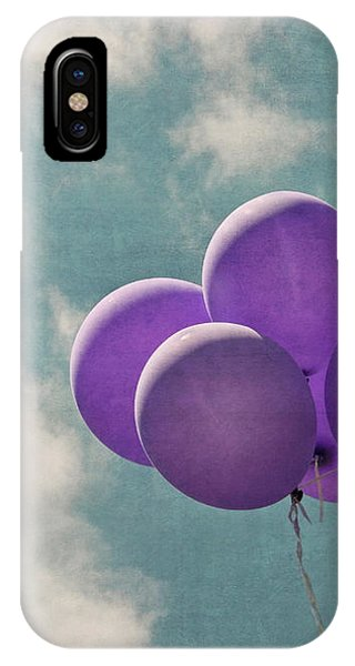 Vintage Inspired Purple Balloons In Blue Sky IPhone Case