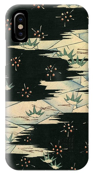 1880s iPhone Case - Vintage Japanese Illustration Of A Black And White Abstract Landscape by Japanese School