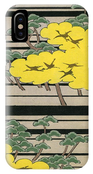 Vintage Japanese Illustration Of An Abstract Forest Landscape With Flying Cranes IPhone Case