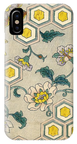 Yellow Flowers iPhone Case - Vintage Japanese Illustration Of Blossoms On A Honeycomb Background by Japanese School