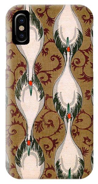 Vintage Japanese Illustration Of Cranes Flying IPhone Case