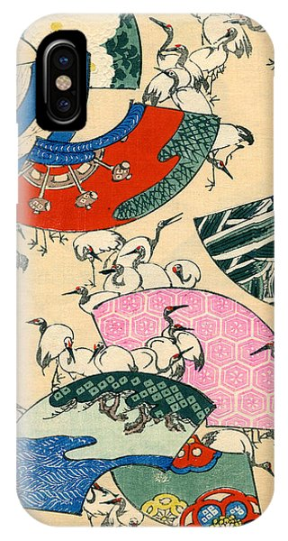 Stork iPhone Case - Vintage Japanese Illustration Of Fans And Cranes by Japanese School