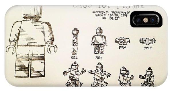 Vintage Lego Toy Figure Patent - Graphite Pencil Sketch IPhone Case