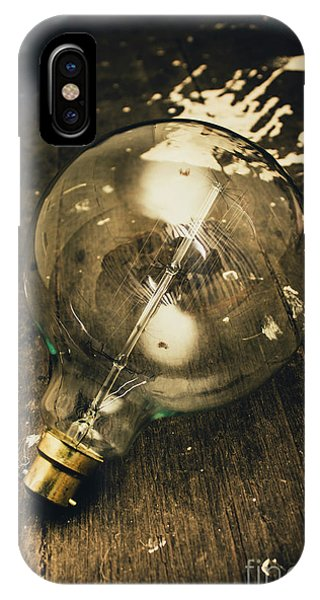 Vintage Light Bulb On Wooden Table IPhone Case