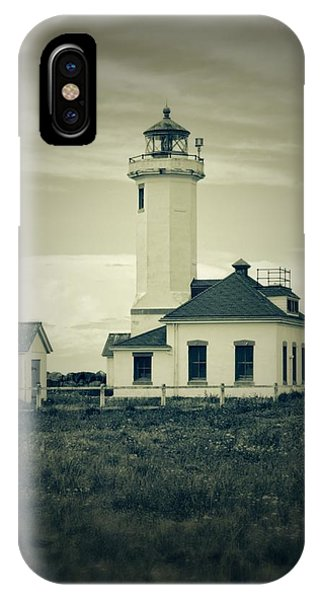 Port Townsend iPhone Case - Vintage Lighthouse Monochrome by Dan Sproul