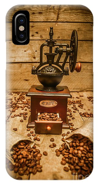 Wood Floor iPhone Case - Vintage Manual Grinder And Coffee Beans by Jorgo Photography - Wall Art Gallery