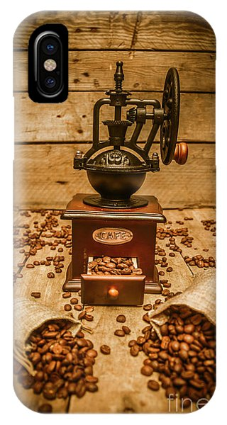 Vintage Manual Grinder And Coffee Beans IPhone Case