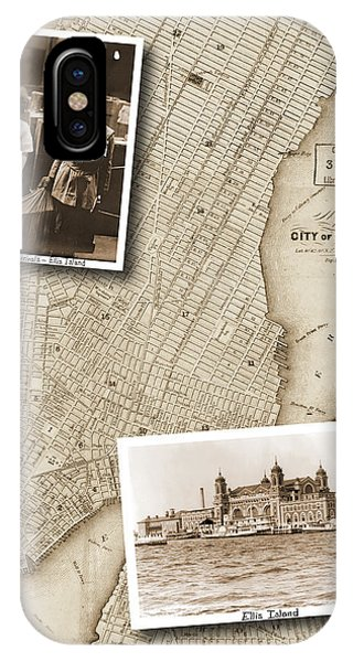 Vintage Map Ellis Island Immigrants IPhone Case