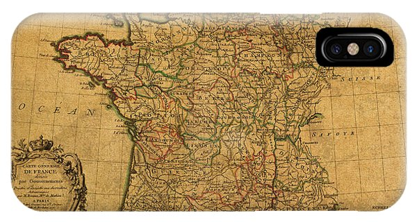 French iPhone Case - Vintage Map Of France Old Schematic Circa 1771 On Worn Distressed Parchment by Design Turnpike
