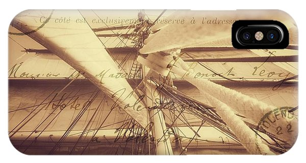 Vintage Nautical Sailing Typography In Sepia IPhone Case