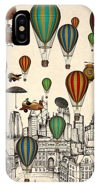 Hot Air Balloons iPhone Case - Vintage Old City by Mark Ashkenazi
