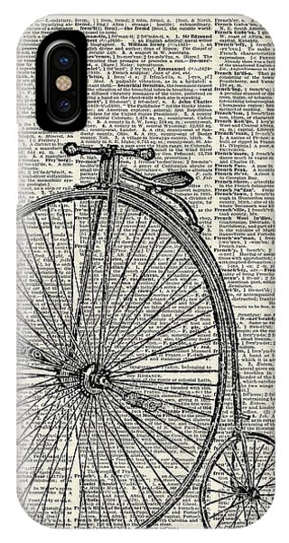 Bike iPhone X Case - Vintage Penny Farthing Bicycle by Anna W