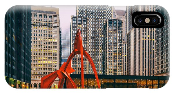 Chicago River iPhone Case - Vintage Photo Of Alexander Calder Flamingo Sculpture Federal Plaza Building - Chicago Illinois  by Silvio Ligutti