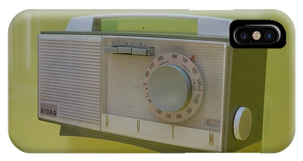Vintage Radio With Lime Green Background IPhone Case