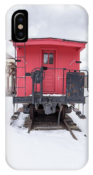 Red Caboose iPhone Case - Vintage Red Caboose In The Snow by Edward Fielding