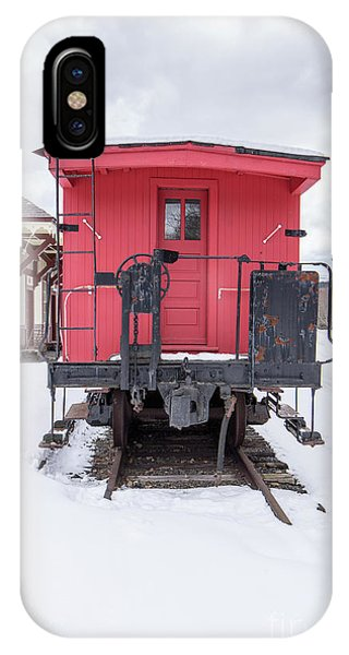 IPhone Case featuring the photograph Vintage Red Caboose In The Snow by Edward Fielding