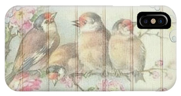 Vintage Shabby Chic Floral Faded Birds Design IPhone Case