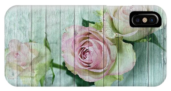 Vintage Shabby Chic Pink Roses On Wood IPhone Case