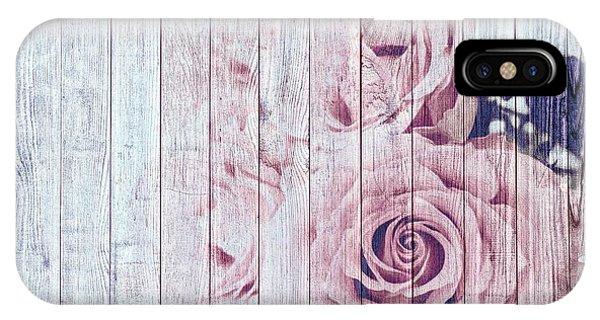 Vintage Shabby Chic Dusky Pink Roses On Blue Wood Effect Background IPhone Case