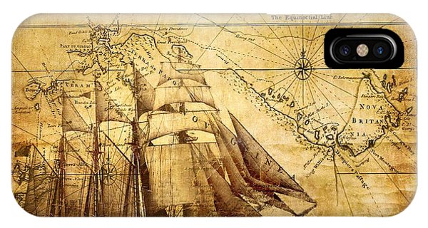 Vintage Ship Map IPhone Case
