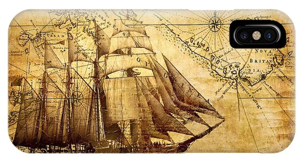 Vintage Ship Map IPhone Case