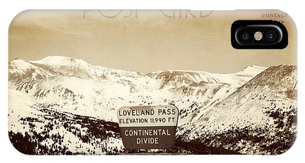 Vintage Style Post Card From Loveland Pass IPhone Case
