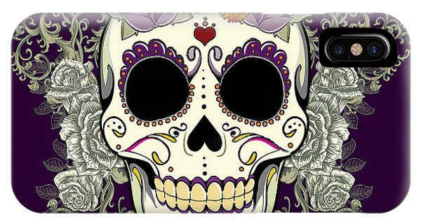 Tribal iPhone Case - Vintage Sugar Skull And Flowers by Tammy Wetzel