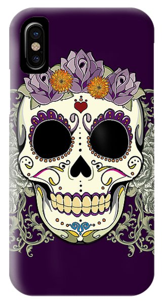 Vintage Sugar Skull And Flowers IPhone Case
