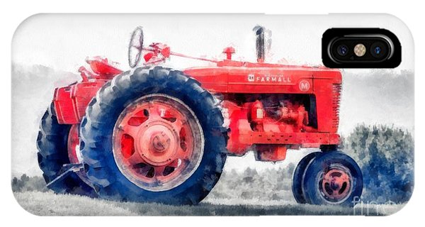 Plowing iPhone Case - Vintage Tractor Watercolor by Edward Fielding
