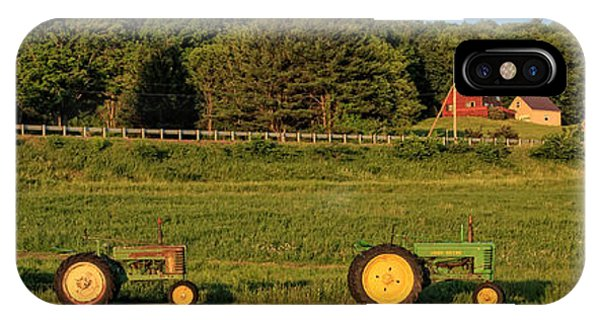 New Hampshire iPhone Case - Vintage Tractors Sunset Panoramic by Edward Fielding