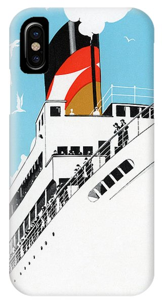 Cruise Ship iPhone Case - Vintage Travel Poster A Cruise Ship With Passengers, 1928 by American School