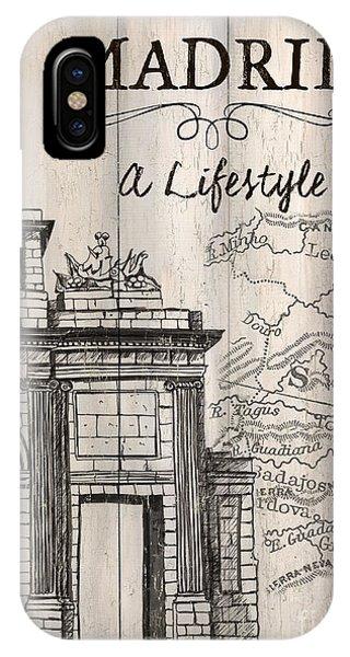 Vintage Camera iPhone Case - Vintage Travel Poster Madrid by Debbie DeWitt