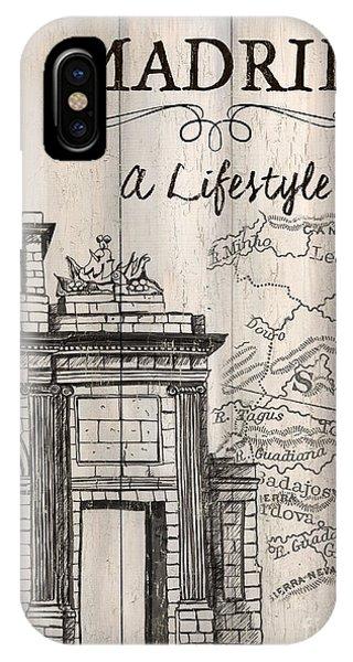 Travel Destination iPhone Case - Vintage Travel Poster Madrid by Debbie DeWitt