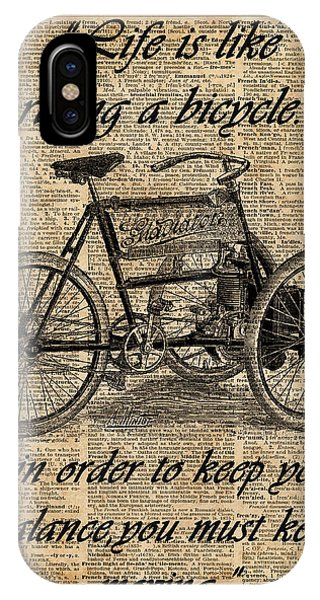 Quote iPhone Case - Vintage Tricycle Antique Bicycle Motivational Quote Retro Dictionary Art by Anna W