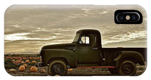 Vintage Truck Two In Pumpkin Graveyard IPhone Case