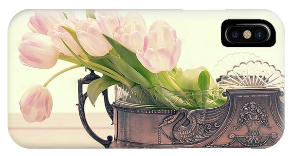 White Tulip iPhone Case - Vintage Tulips by Delphimages Photo Creations