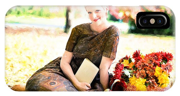 IPhone Case featuring the digital art Vintage Val Autumn Picnic by Jill Wellington