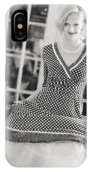 IPhone Case featuring the digital art Vintage Val Black And White by Jill Wellington