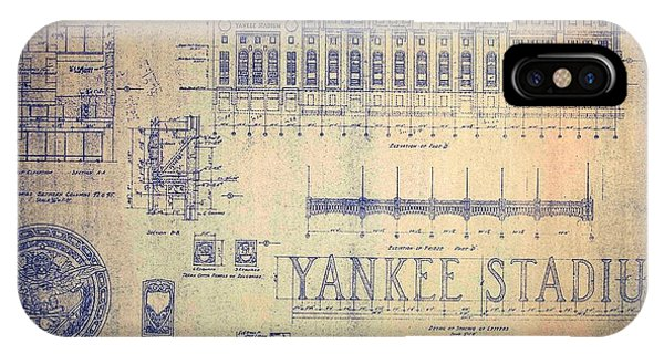 Vintage Yankee Stadium Blueprint Signed By Joe Dimaggio IPhone Case