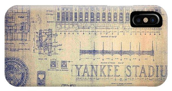 Vintage Yankee Stadium Blueprint Signed By Joe Dimaggio IPhone Case