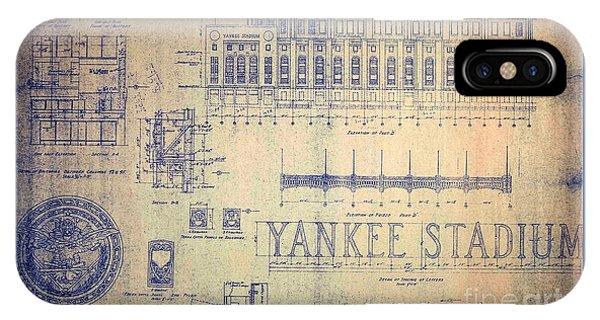 Vintage Yankee Stadium Blueprint IPhone Case
