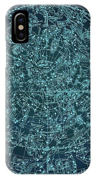 Vintage Zodiac Map - Teal Blue IPhone Case