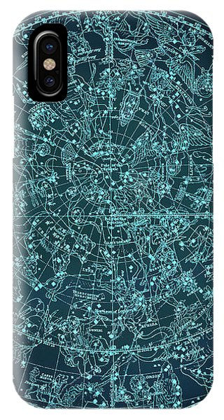 Vintage Zodiac Map - Teal Blue IPhone Case