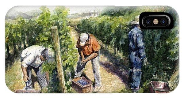 Grape iPhone X Case - Vineyard Watercolor by Olga Shvartsur