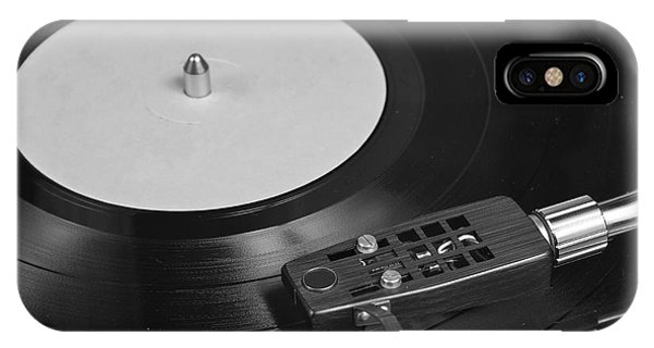 Vinyl Record Playing On A Turntable Overview IPhone Case